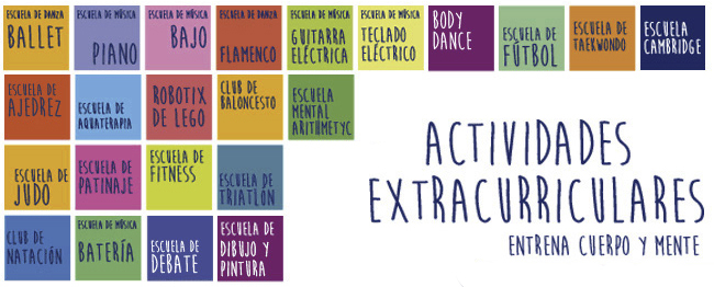 Tabla con la oferta de actividades extracurriculares del colegio privado Añoreta
