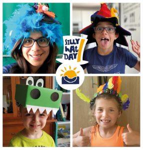 Profesores y alumnos celebrando el Silly Hat Day