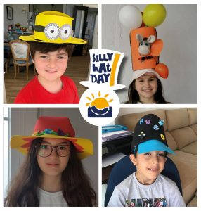 alumnos nos enseñan sus sombreros