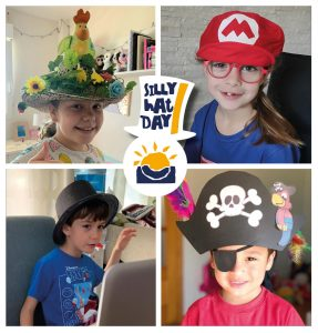 Alumnos luciendo sombreros en el Silly Hat Day
